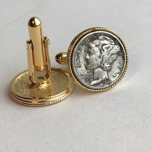 Other - Vintage Gold Roped Mercury Dime Cuff Links